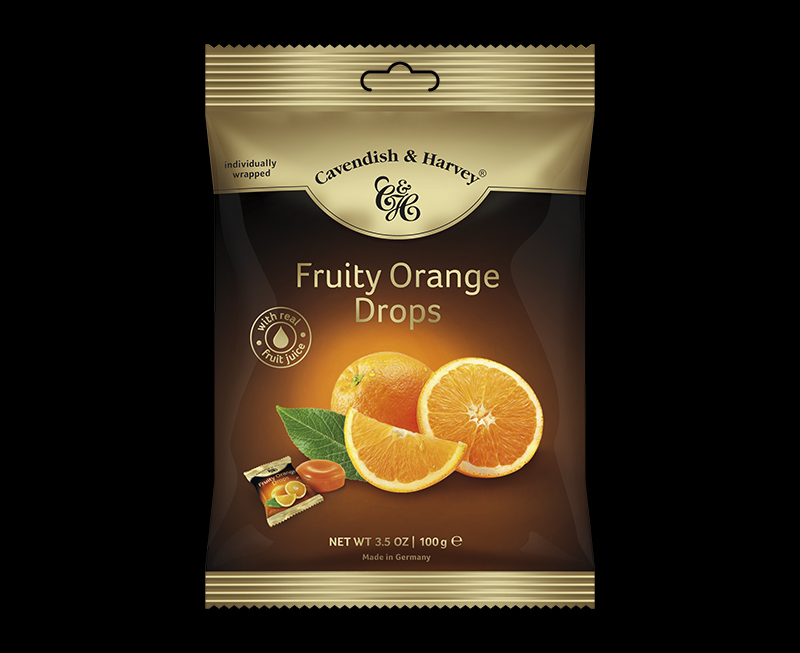 Juicy Orange Drops individually wrapped 100g