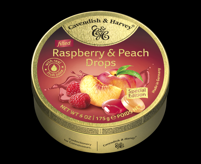 Raspberry & Peach Drops Filled 175g