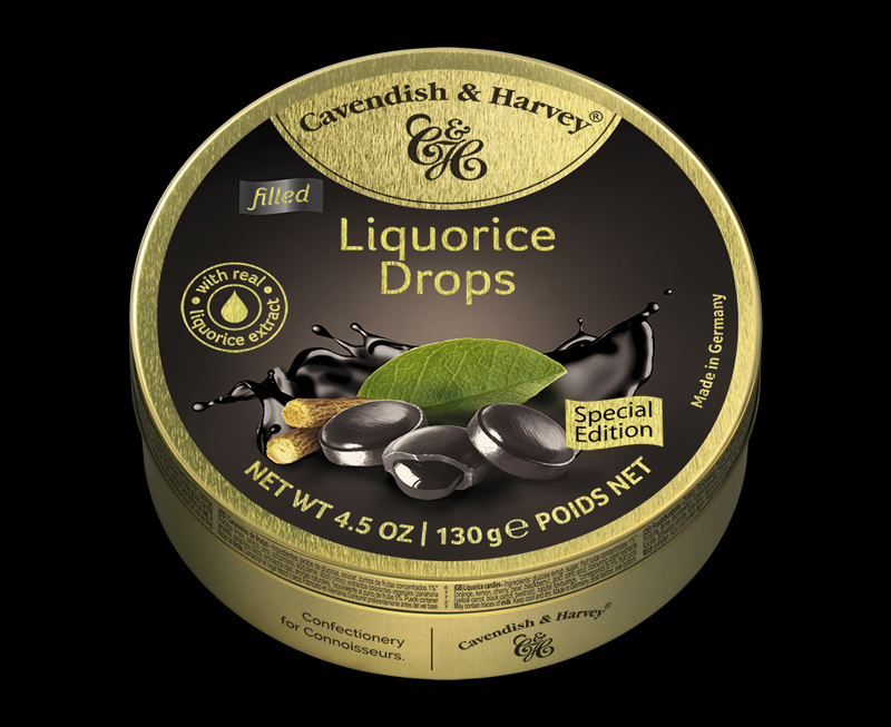 Liquorice Drops Filled with real liquorice extract, 130g