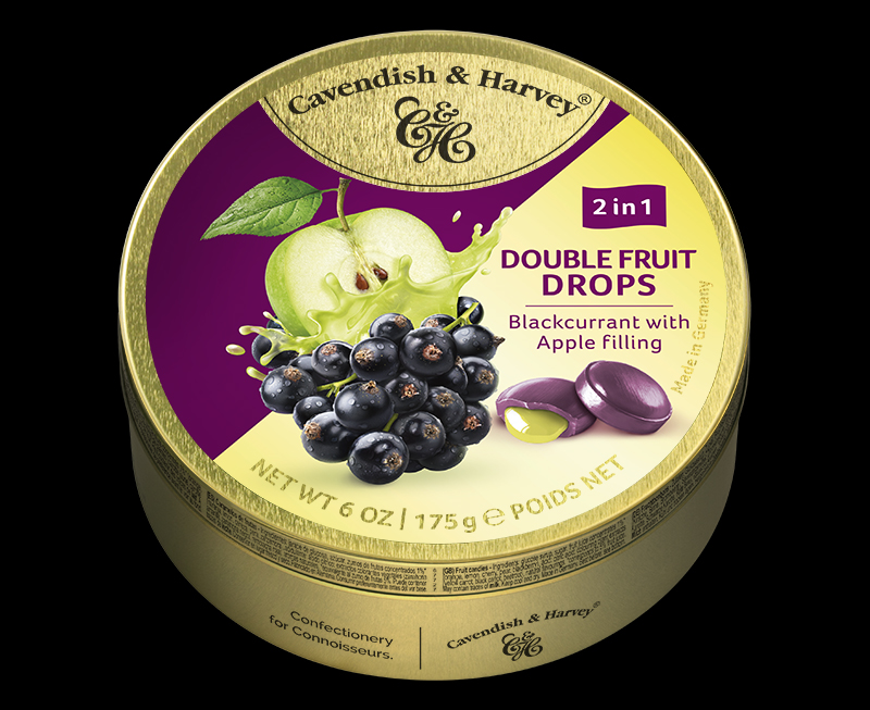Double Fruit – Blackcurrant Drops filled with Apple 175g